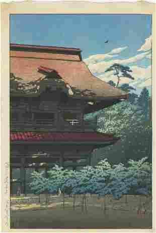 Hasui Kawase - Kenchoji Temple Gate 1933 6mm Woodblock