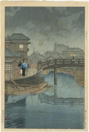 Hasui Kawase - Rain at Shinagawa D-seal 1931 woodblock