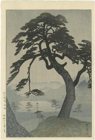 Shiro Kasamatsu - Kinokunisaka Rain 1938 6mm woodblock