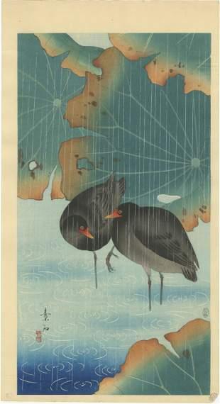 Soseki Komori - Moorhens in Rain 1931 MULLER Est RARE