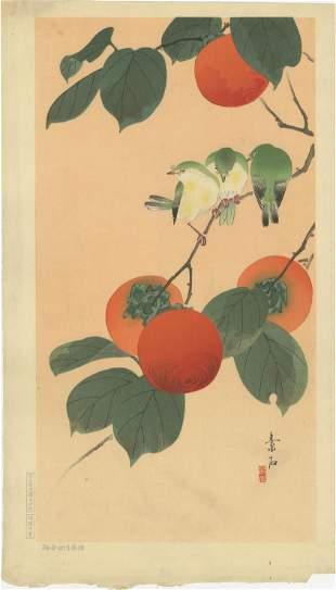 Soseki Komori - Birds on Persimmon c1929 MULLER Est