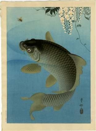 Ohara Koson - Carp and Bee under Wisteria c1930 MULLER