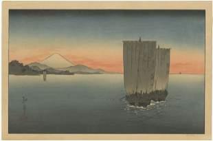Koho Shoda - Boats and Mt Fuji c1910 woodblock RARE