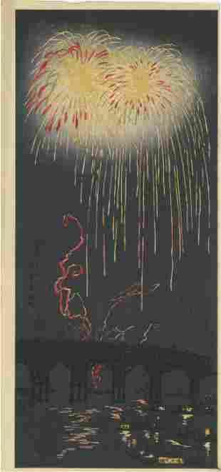 Shotei Takahashi - Fireworks at Ryogoku, Tokyo 1927