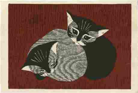 Kaoru Kawano: Two Cats (Kittens) 1950s Woodblock