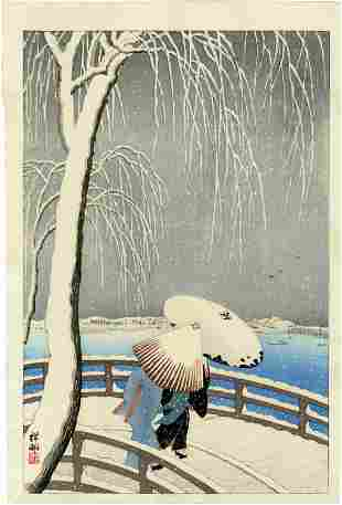 Koson Ohara: Snow on Willow Bridge 1927 Woodblock