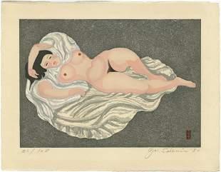 Sekino Junichiro: Reclining Nude 1980 1st Ed Woodblock