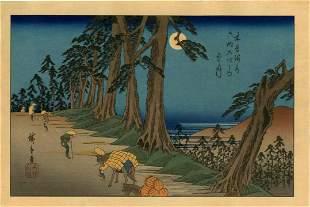Hiroshige Ando: Mochizuki on the Kisokaido Woodblock