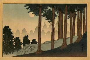 Hiroshige Ando: Mt. Kurama by Moonlight Woodblock