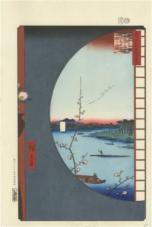 Hiroshige Ando: Round Window Suijin Shrine Woodblock NR