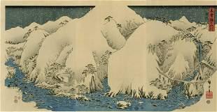 Hiroshige Ando: Snowy Mountains Woodblock Triptych NR