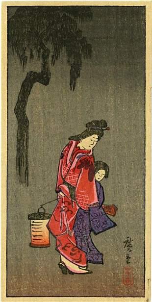 Hiroshige Ando: Woman and Girl with Lantern Woodblock