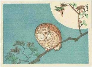 Hiroshige: Little Owl in Moonlight Woodblock