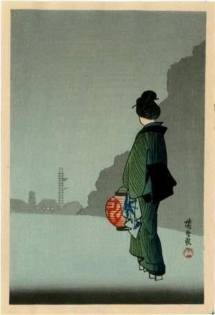Hiroshige: Woman with Lantern 1930s Woodblock NR