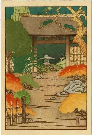 Lilian May Miller: A Japanese Garden 1927 Woodblock