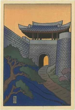 Lilian May Miller: Palace Walls 1927 Woodblock