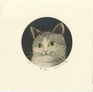 Norikane Hiroto: Yellow Eyed Cat 2003 Mezzotint