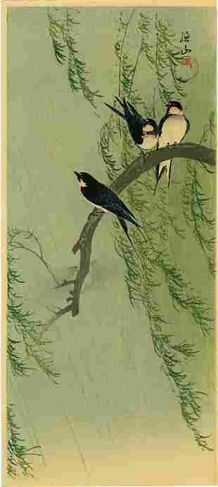 Sozan Ito: Barn Swallows on Willow 1925 Woodblock