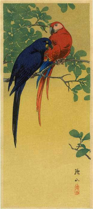 Sozan Ito: Macaws in a Tree 1925 Woodblock NR
