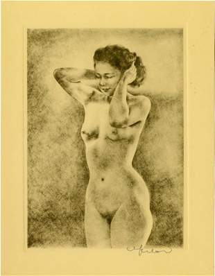 Willy Seiler: Standing Nude c.1945-50 Etching