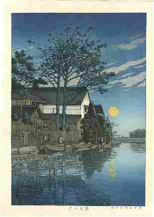 Hasui Kawase - Evening at Itako 1929 woodblock