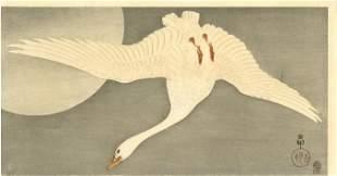 Koson Ohara - White Goose Full Moon c1910 Pre-EQ RARE