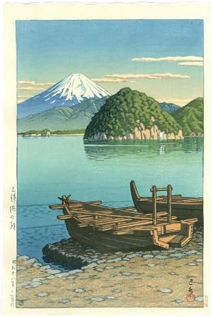 Hasui Kawase - Morning at Mito Beach 1953 woodblock