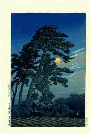 Hasui Kawase: Full Moon at Magome Woodblock