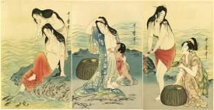Utamaro Kitagawa: Abolone Divers Wodoblock Triptych