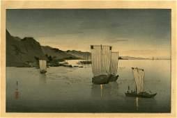Suzuki Kason: Kominato Harbor 1930s Woodblock