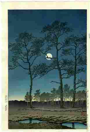 Hasui Kawase: Toyamagahara Winter Moon 1931 Woodblock