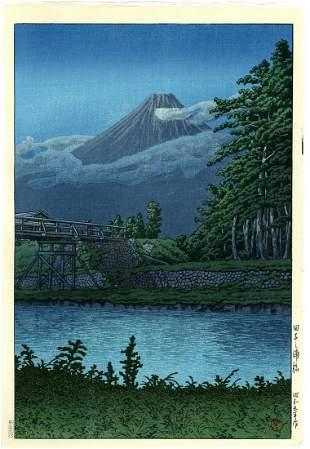 Hasui Kawase: Fuji from Tagonoura Bridge 1930