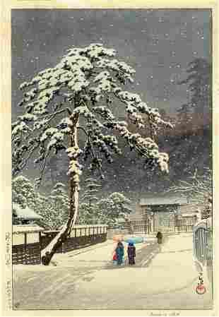 Hasui Kawase: Ikegami Honmonji Temple 1931 Woodblock