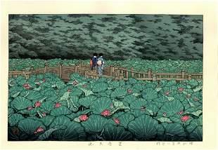 Hasui Kawase: Shiba Benton Lotus Pond 1929 Woodblock
