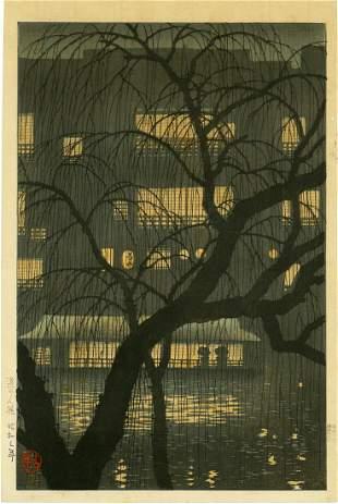 Konen Uehara: Evening at Dotonbori, Osaka 1928 1st Ed.