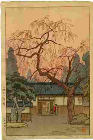 Toshi Yoshida: Cherry Blossoms by the Gate 1951 1st Ed
