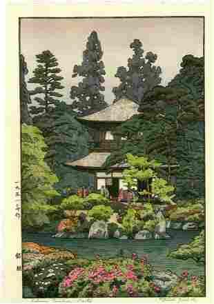 Toshi Yoshida: Silver Pavilion Kyoto 1951 Woodblock