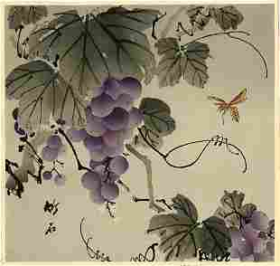 Chikuseki Hirose: Wasp and Grapes 1930s Woodblock