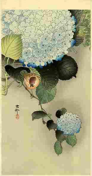 Ohara Koson: Sparrow and Hydrangea 1920s Woodblock