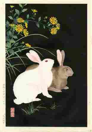 Hodo Nishimura: Two Rabbits at Night 1938 1st Ed