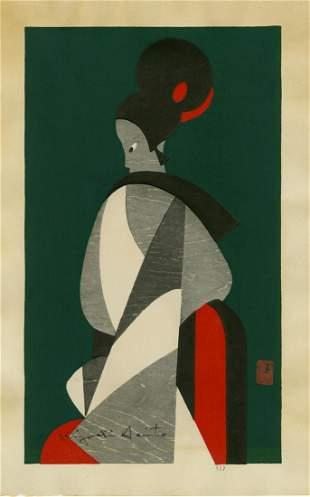 Kiyoshi Saito: Woman Bunraku 1960 Woodblock