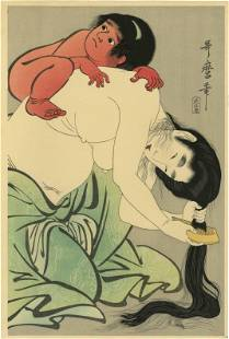 Utamaro Kitagawa - Kintaro atop Yamauba woodblock c1795