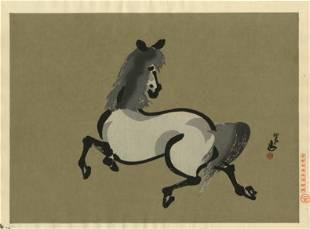 Aoyama Seizan - Startled Horse woodblock c1600s/1940s