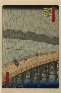 Hiroshige Ando - Sudden Shower Ohashi Bridge woodblock