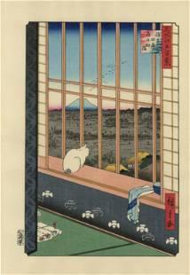 Hiroshige - Mt Fuji Cat in Window 100 Views woodblock