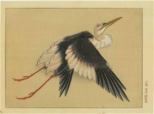 Katsushika Hokusai - Heron in Flight woodblock c1830s