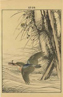 Imao Keinen - Kingfisher with Minnow 1891 woodblock