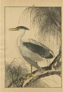 Imao Keinen - Egret on Branch 1891 woodblock