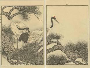 Imao Keinen - Two Cranes on Pine 1891 woodblock 2-panel