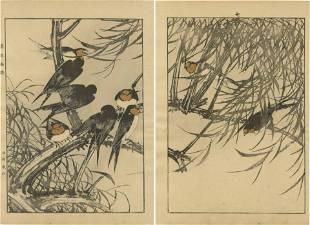 Imao Keinen - Swallows on Willow 1891 woodblock 2-panel